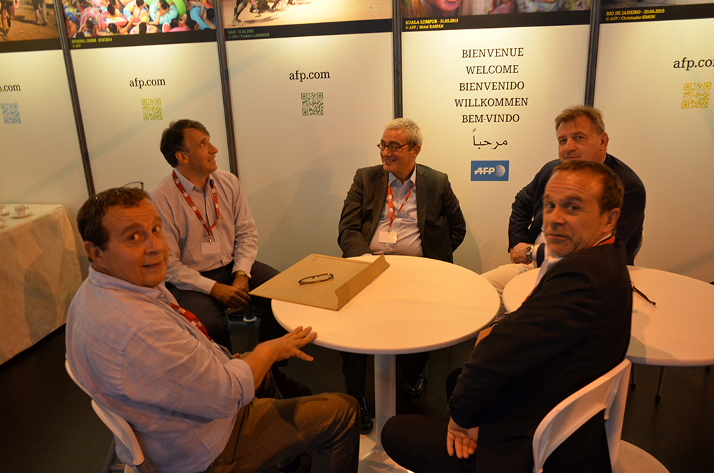 Visa 2013, réunion au sommet entre partenaires. Au centre J Klein, cofondateur de Getty et E Hoog, Président de l'AFP © Michel Puech