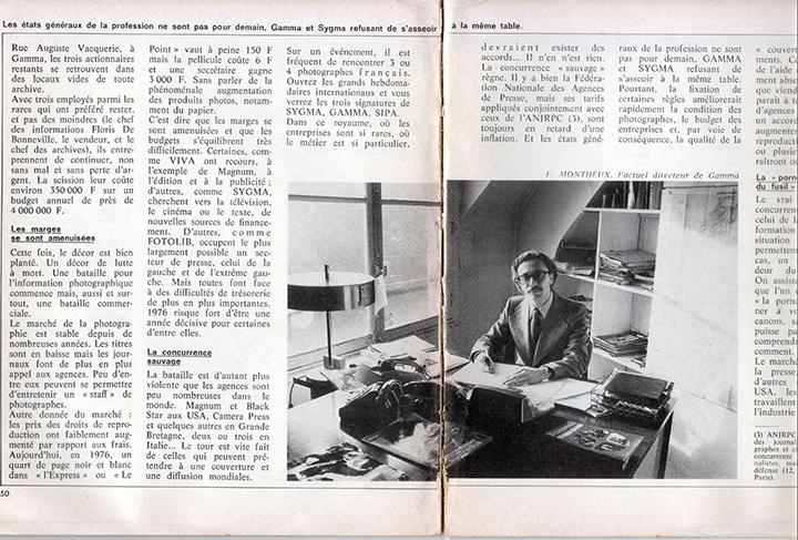 Extrait de Presse Actualité. Sur la photo: Jean Monteux à Gamma.