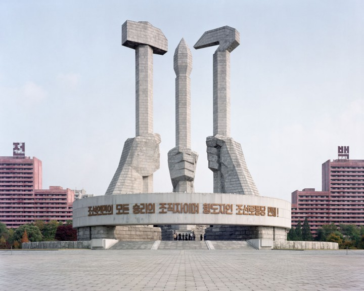 Monument to the Party Foundation. This monument was constructed in Pyongyang under Kim Jong Il's will to mark the 50th anniversary of the founding of the ruling Korean Workers Party. © Maxime Delvaux