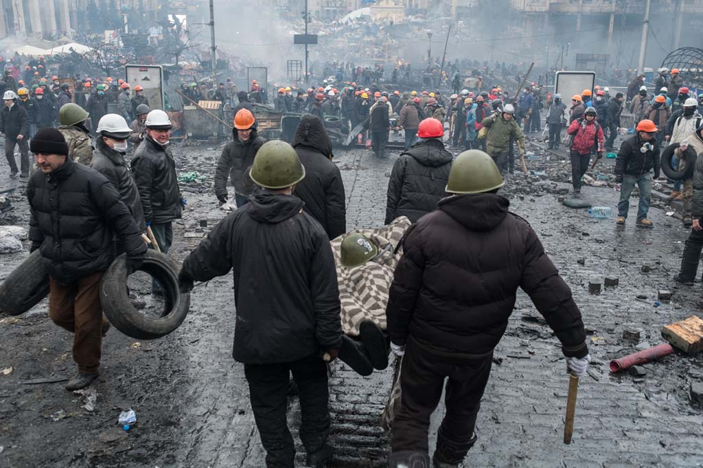 Kiev, Ukraina. 20/02/2014Riots on Maidan square. Civilians killed by the police with Kalashnikov. More than 25 dead this morning.