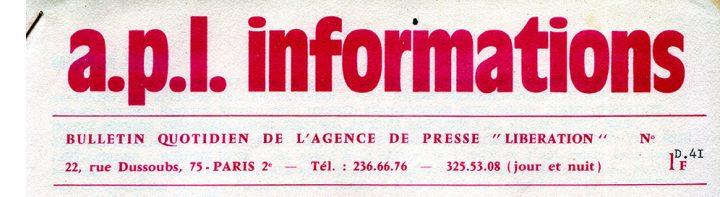 En-tête du bulletin de l'Agence de Presse Libération (APL) (c) Collection Puech.info