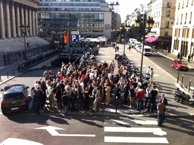 Paris le 24 sept. 2013: Manifestation des salariés du Nouvel Obs place de la Bourse. Photographie (c) Aline Manoukian