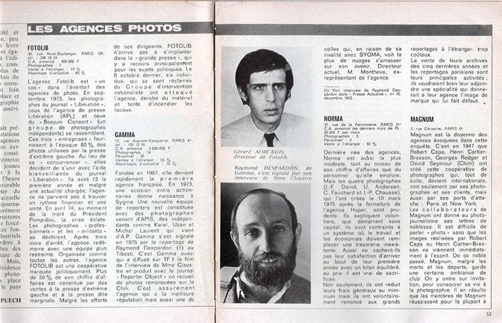 Photo du haut: Gérard-Aimé directeur de Fotolib. Photo du bas: Raymond Depardon, directeur de Gamma