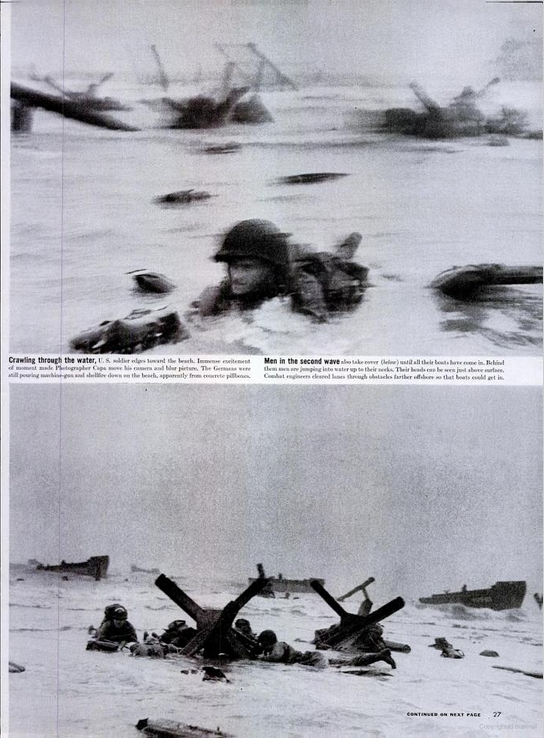Publication des photos de Robert Capa dans le numéro du 19 juin 1944 de Life