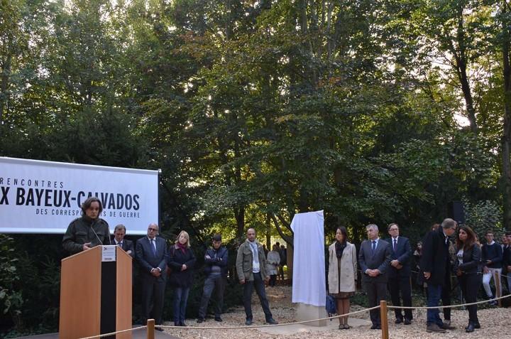 Bayeux (France) 8/10/15 Cérémonie au Mémorial des reporters de Bayeux. Hommage aux journalistes tués dans l'excercice de leur métier et cette année en particulier aux morts de Charlie Hebdo.